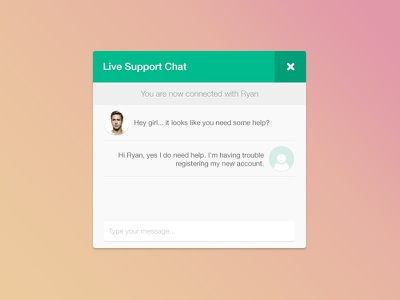 Live Support Chat ui clean almost flat ryan gosling flat chat