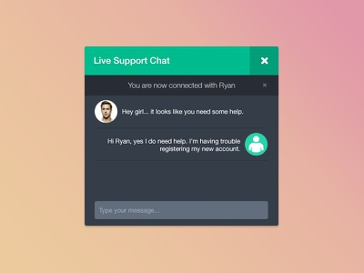 PSD Freebie - Live Support Chat Dark ui user interface clean flat design chat psd free color