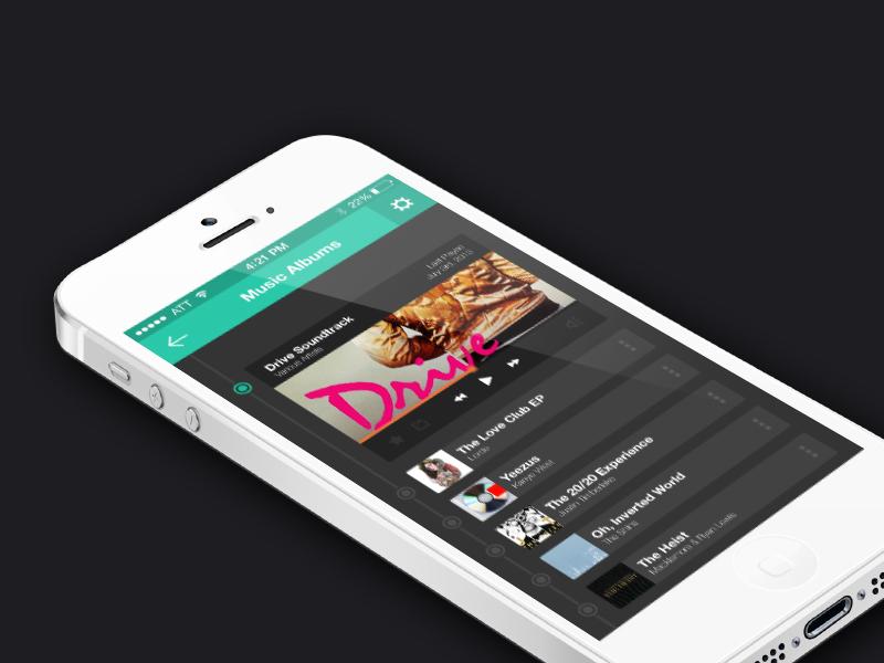 PSD - Music Player free flat ios ui music app app iphone color drive user interface psd