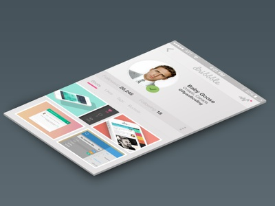 Dribbble App - Profile ui user interface clean flat design dribbble ryan gosling concept ux app ios profile
