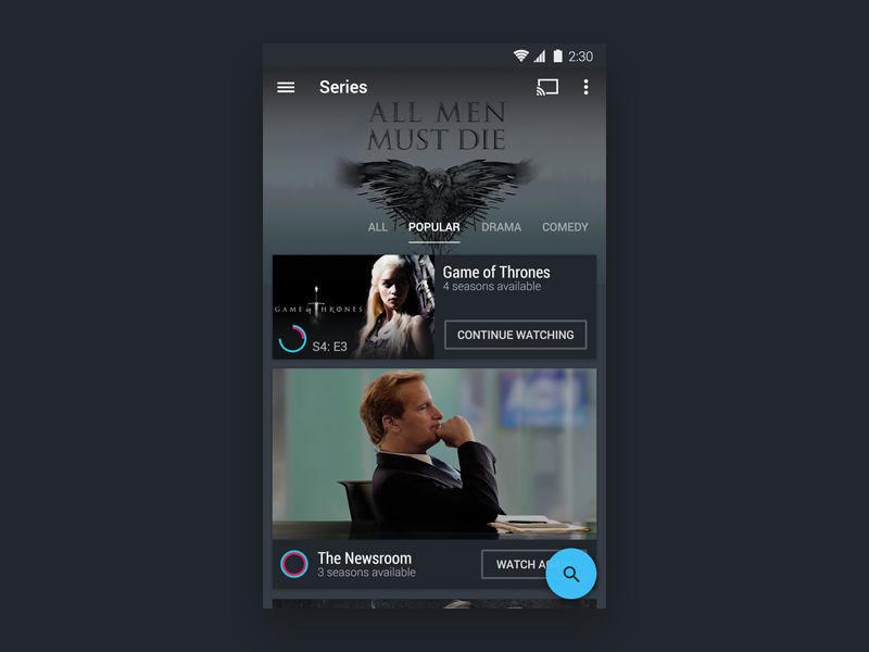 HBO Now Material(ish) Design hbo material android design user interface ui game of thrones ux mobile flat tv
