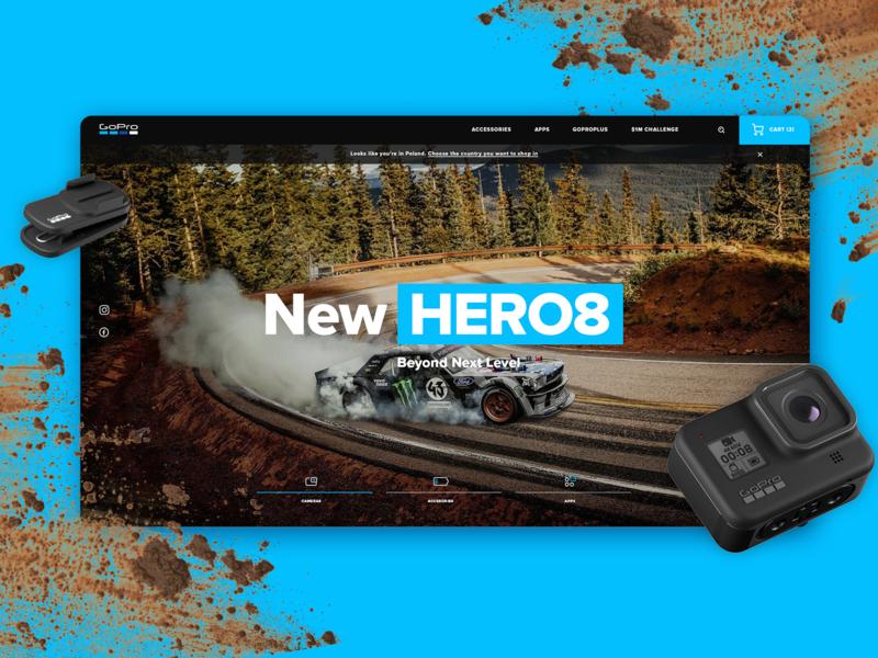 GoPRO HERO 8 homepage concept search bar mud cart ecommerce minimalistic mainpage camera black blue webdesign landing page goprohero hero8 gopro