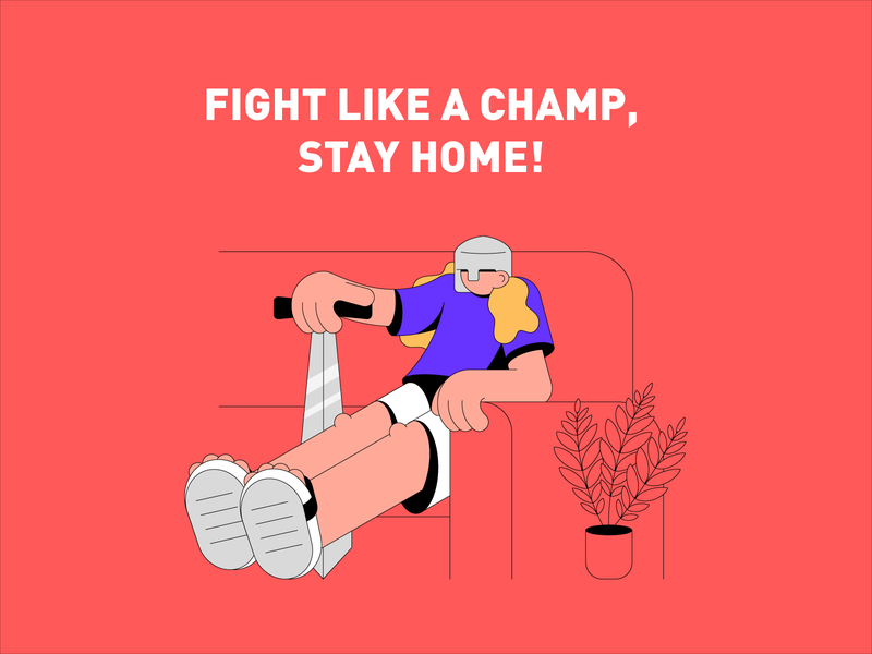 Champ flat design flat character vector design vector design art design epidemic illustration art illustration illustrator coronavirus home knight sword stay home flat art champion