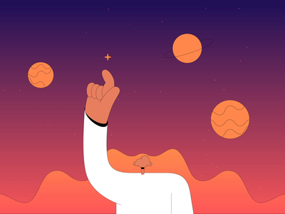 Universe wave poking stars planets universe illustrator vector character animation character design flat design after effects animation 2d animation
