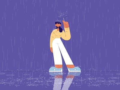 Rain umbrella rain character design 2d animation woman vector flat design illustrator after effects illustration animation