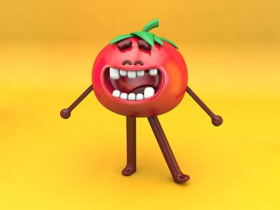 3D tomato fruit 3d character modeling 3d character character design tomato c4d 3d 3d modeling 3d art