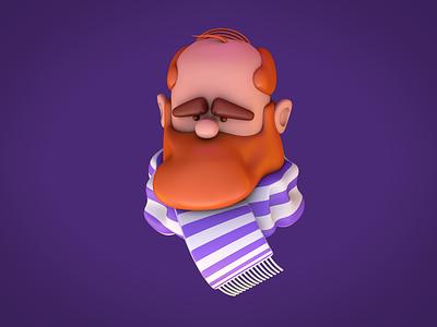 Man with beard scarf beard man 3d character modeling 3d character design 3d character 3d modeling c4dart c4d 3d art 3d