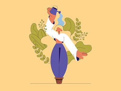 Self-care selfcare self care self-care plants vector design woman vector flat design illustration illustrator