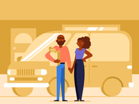 Couple with minivan