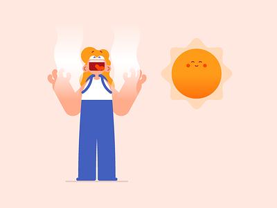 Burning up character design vector illustration burning sun hot warm heat summer