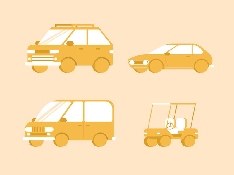 Cars cars golf cart sport car suv minivan flat design design illustrator vector illustration