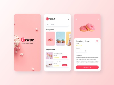 Crave Online Food App mobile app design mobile design red pink dessert food app food mobile app mobile ui app ui design dailyui design adobe xd ui