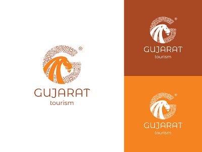 GUJARAT TOURISM Logo Redesign Concept. branding brand typogaphy icons icon design. logodesign identitydesign mark marketing logotype logomaker madala gujarat desiger design art illustrator vector logos