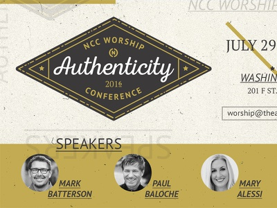 NCC Worship Conference collateral church texture gold national community church washington dc conference badge layout