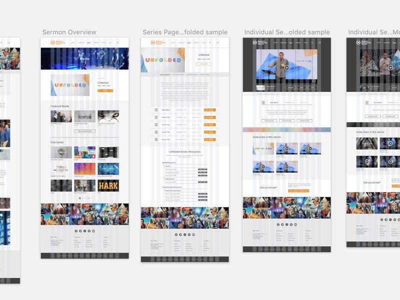 NCC website layout ux ui design sketch web website