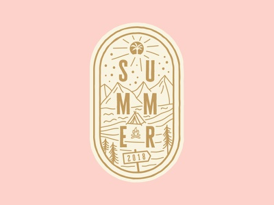 Summer Camp Badge church trees tent river mountains camping icon badge camp summer