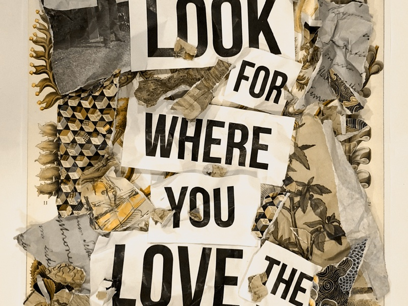 Look for where you love the process ripped rip process love collage paper abstract poster design
