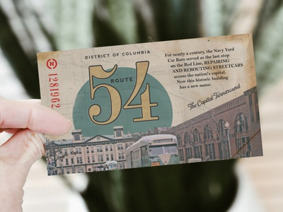 Route 54 District of Columbia capital capitol hill navy yard dc vintage ticket streetcar design washington dc