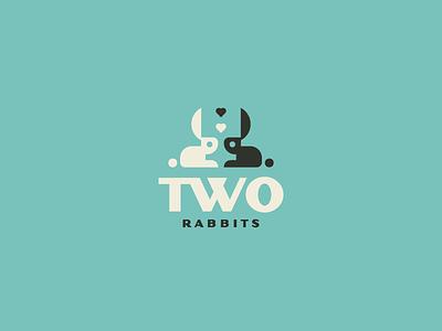 Two Rabbits bunny dribbble vector flat clean logo rabbit animal mark badge logo brand badge