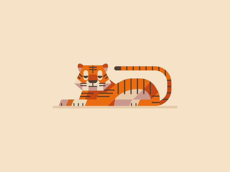Drowsy Tiger logo cartoon jungle identity 2d illustration animal illustration animal lion cat tiger