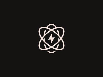 Atom minimalist minimal modern 2d flat clean brand identity branding brand icon logo weather thunder lightening neutron proton atom