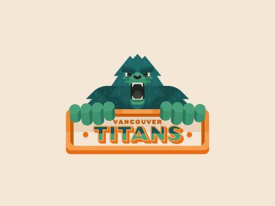 Vancouver Titans badge monkey logo monkey ape gorilla typography type 2d minimal flatdesign mascot illustration sasquatch yeti bigfoot