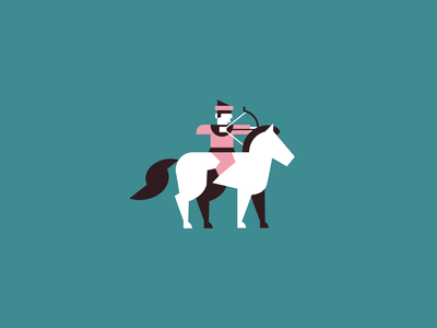 Archer brand branding identity logodesign arrow bow man flat 2d minimal shape geometric icon horses horse logo warrior king medieval horse archer