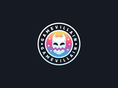 Gamevillain mascot flat gradient illustration brand identity branding brand icon logo badge demon monster mask devil