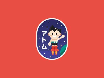 Astro Boy japanese planet space minimal 2d flat icon badge logo anime astroboy boy astronaut