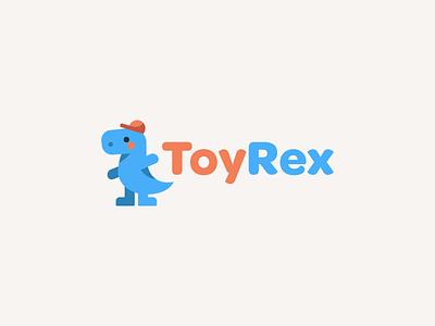ToyRex cute flat 2d minimal simple digital illustration identity brand identity branding brand icon logo dinosaur trex toys