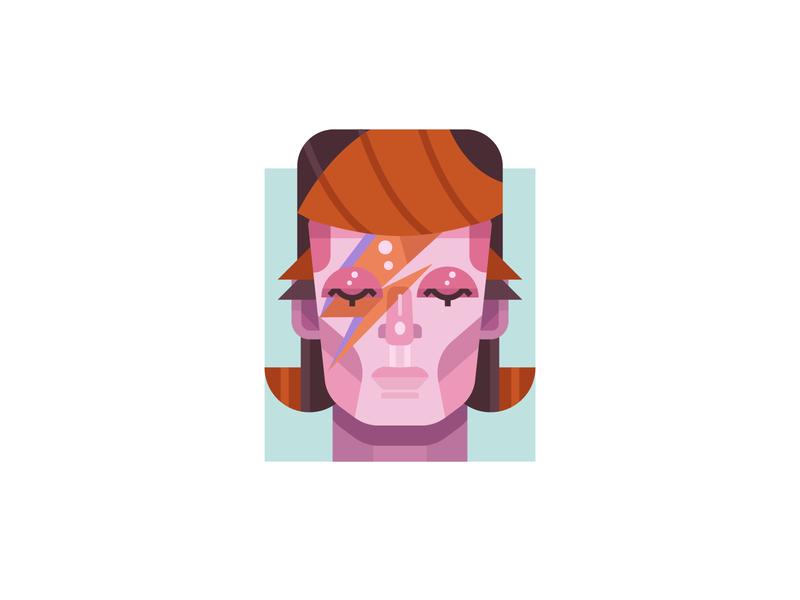 Ziggy prince dribbble design geometric illustration simple flat portrait musician music icon bowie ziggy
