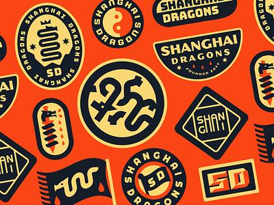 Shanghai Dragons Concepts typeface flag vintage retro minimal brand branding identity branding identity illustration china icon sword logo badge type sword dragon