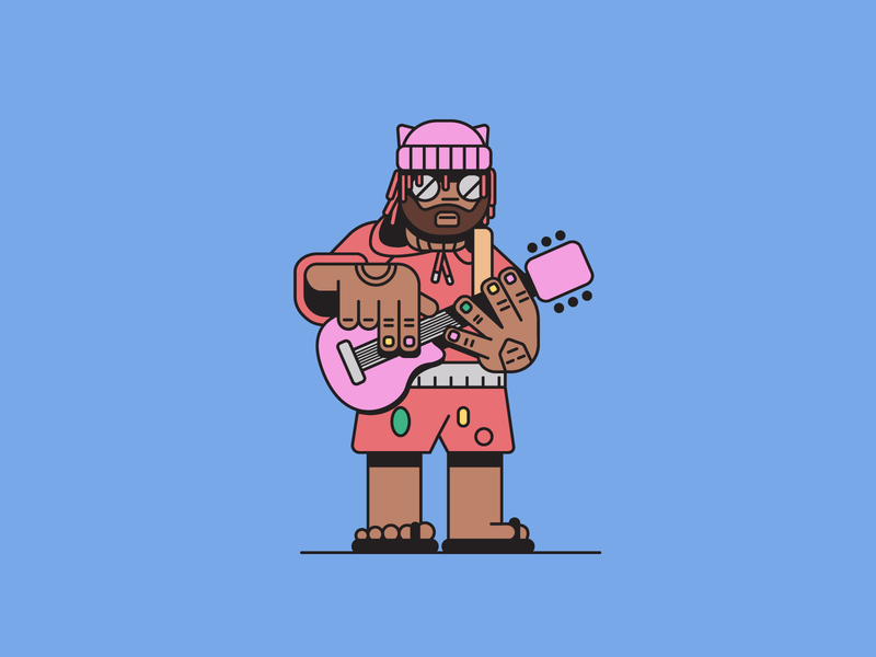 Thundercat guitarist guitar bass simple minimal album artwork drawing flat illustration jazz funk hiphop artist musician music thundercat