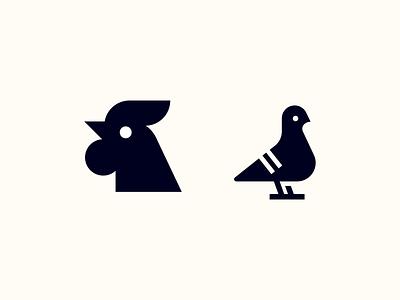 Couple Birds identity branding identity icon simple logo bird icon brand bird logo rooster chicken bird