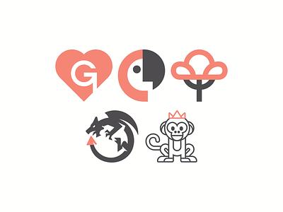 Friday Marks monkeys badge flatdesign mark simple logo branding brand simple minimal logo icon logoidea dragon tree heart parrot monkey
