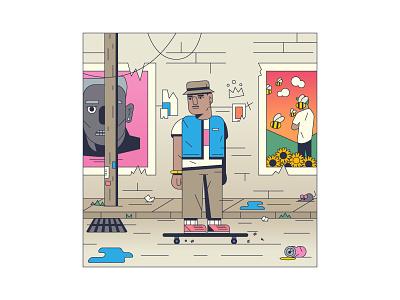 Tyler monoline flat minimal magazine editorial illustration rap music album hiphop tyler