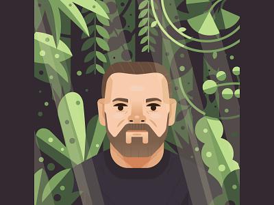 Ricky Gervais illustrator wild forest leaves jungle illustration portrait