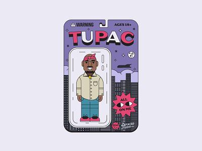 Tupac hiphop rap flat monoline illustration california biggie tupac