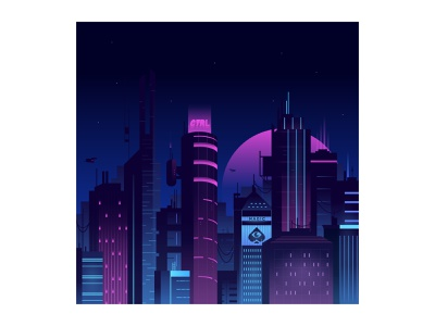 Magic Metropolis illustration illustrator city illustration cityscape futuristic cyber city cyberpunk future