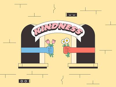 Kindness monoline minimal simple illustration illustrator mental health kindness