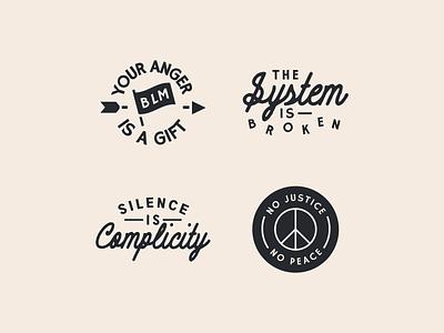BLM Badges peace justice blm illustrator mascot icon simple minimal logo badge branding flat illustration