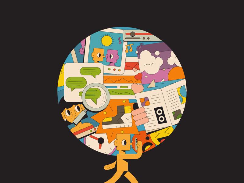 A Full Mind illustrator illustration editorial thought thinking newspaper landscape relationships advert shoes phone social media mental health mind