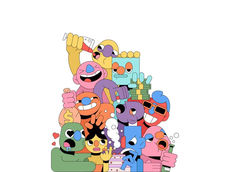 Greed smoke cake editorial addiction vice drink money illustrator illustration puppet sin characters