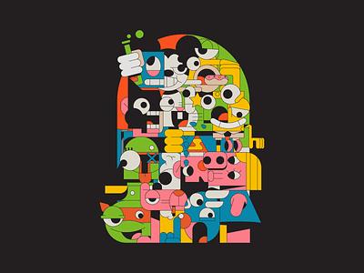 Deconstructed Icons broken cartoon illustration iconography cartoon america characters