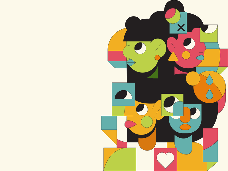 Look faces face cubes circles editoral illustrator illustration humans people woman girl cubism abstract