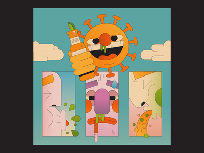 Summer of Coronavirus beer illustrator illustration flu hot heat seasons sky clouds panels face ill sick sun summer virus
