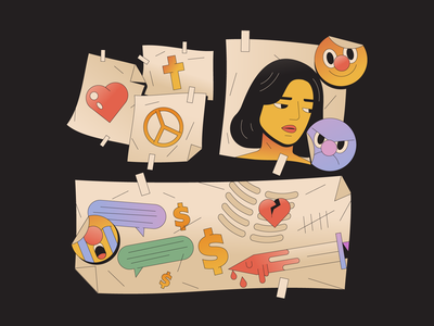 Sword texts money skeleton heart swords woman girl illustrator illustration note letter card text relationship loss love emoji emotion face sword