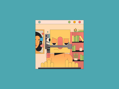 Phone ilustrator illustration tired coffee work computer addict phone