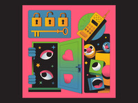 Lock and Key illustration illustrator eye hands star stars emoji emotion heart eyes call space face key lock phone