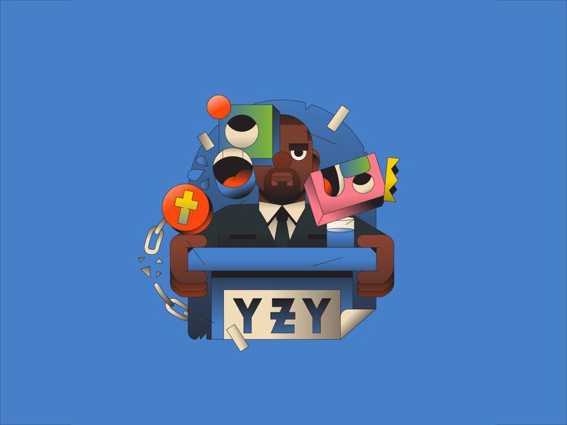 YZY 2020 illustrator sticker abstract editorial illustration weird 2020 president kanye